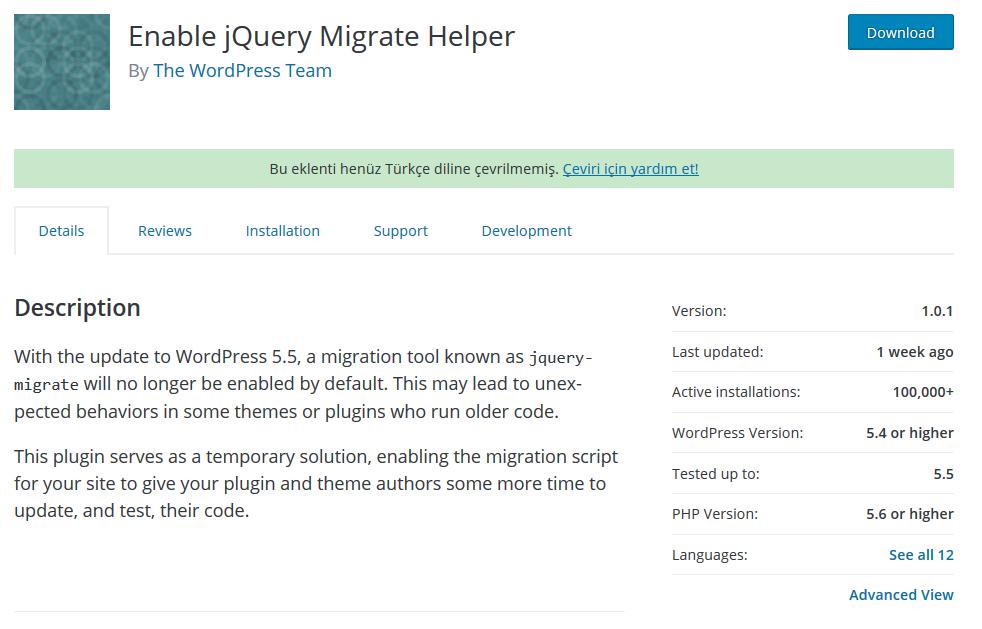 jQuery Migrate Helper Eklentisi