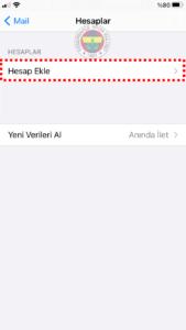 FB POP 3 fenerbahce.com.tr iPhone E-Posta Hesabı Kurulumu