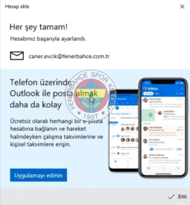 Windows FB 8 fenerbahce.com.tr Windows E-Posta Hesabı Kurulumu